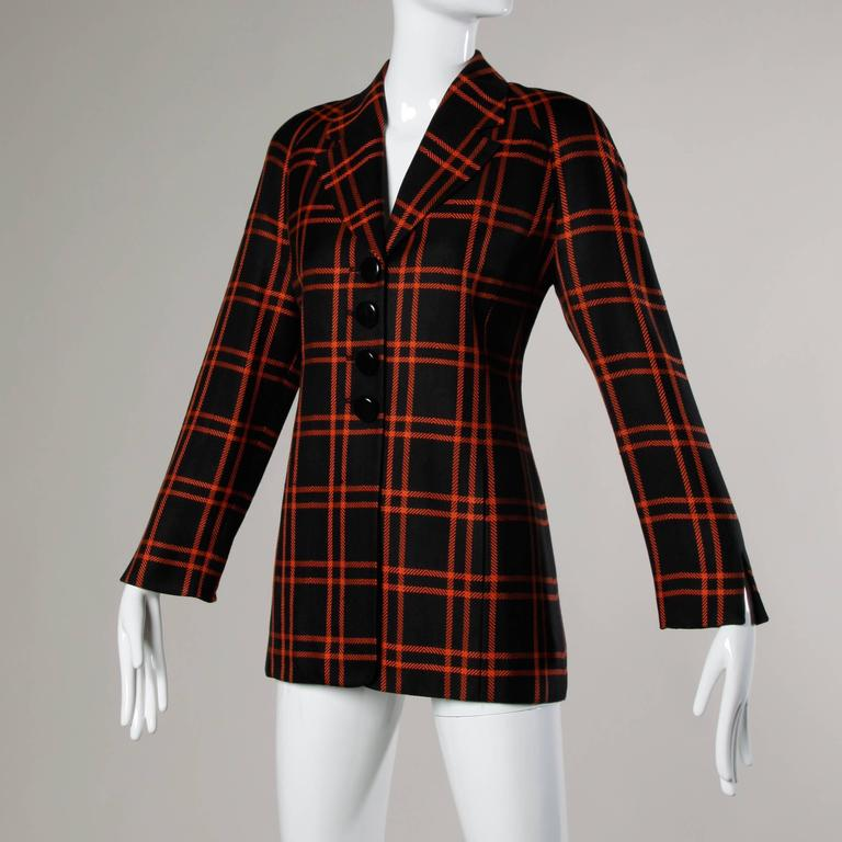 Christian Dior Vintage Silk Plaid Blazer Jacket For Sale 3