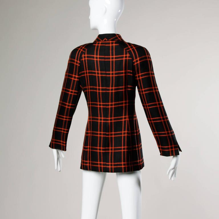 Black Christian Dior Vintage Silk Plaid Blazer Jacket For Sale
