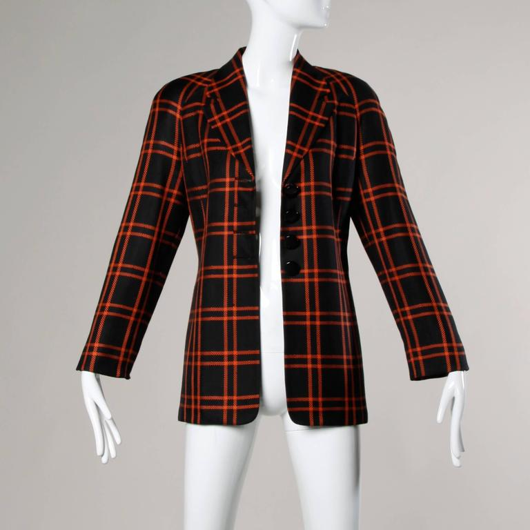 Christian Dior Vintage Silk Plaid Blazer Jacket For Sale 4