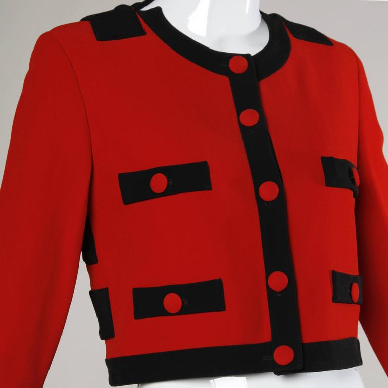 Moschino Vintage 1990s Red + Black Color Block Jacket For Sale 1