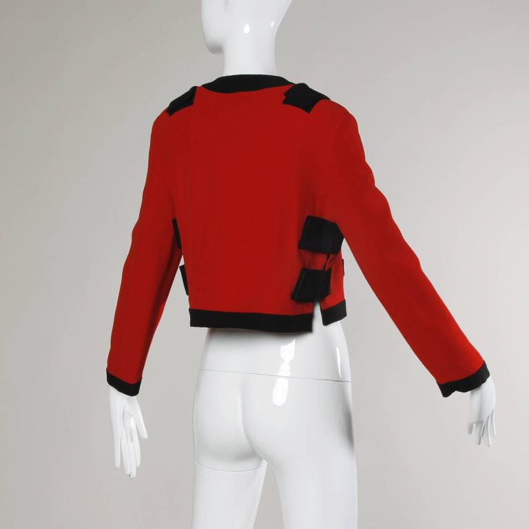 Moschino Vintage 1990s Red + Black Color Block Jacket In Excellent Condition For Sale In Sparks, NV