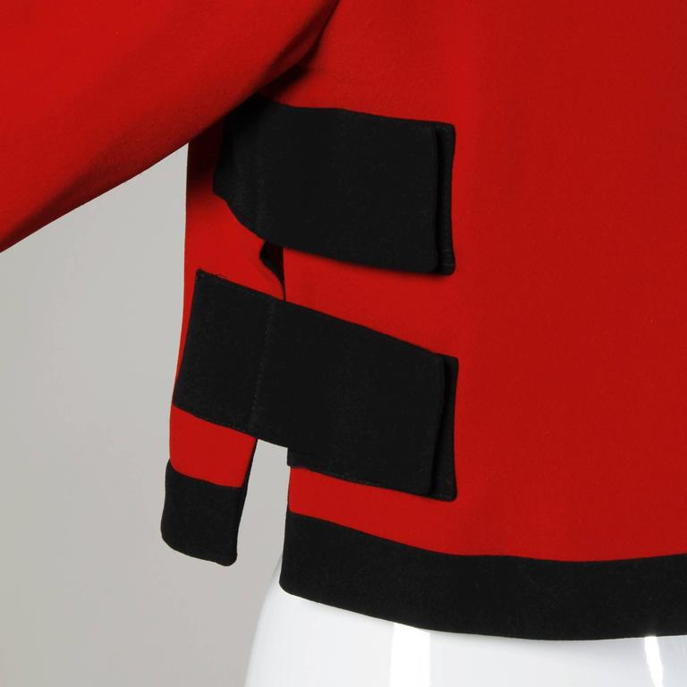 Moschino Vintage 1990s Red + Black Color Block Jacket For Sale 3