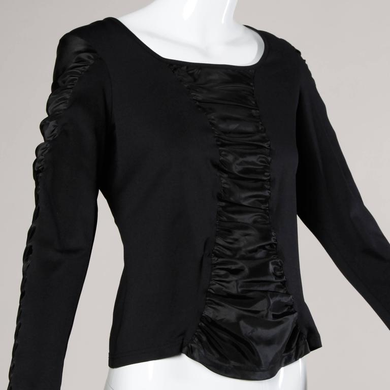 Women's Anne Fontaine French-Made Ruched Long Sleeve Top or Shirt For Sale