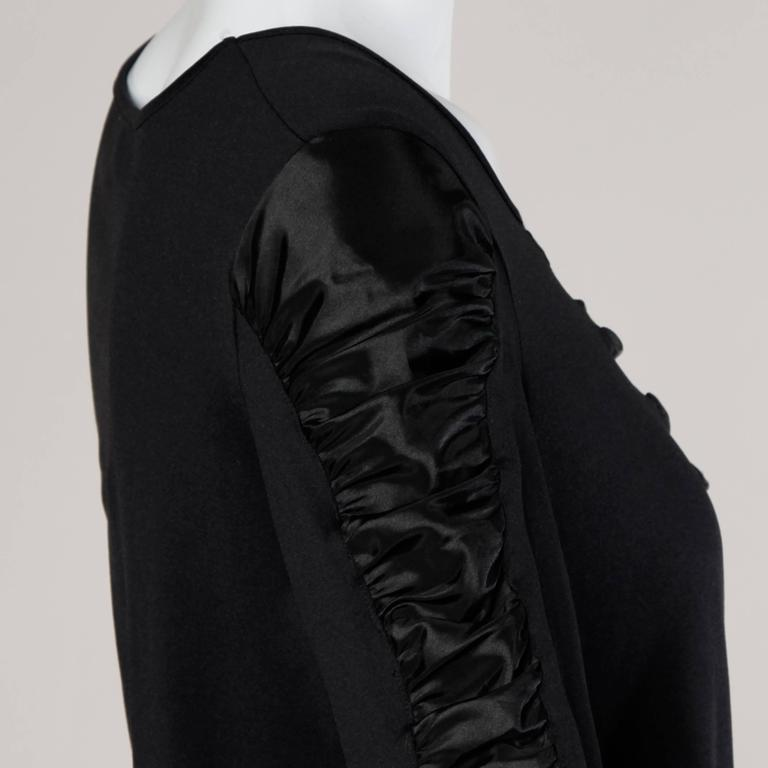 Black Anne Fontaine French-Made Ruched Long Sleeve Top or Shirt For Sale