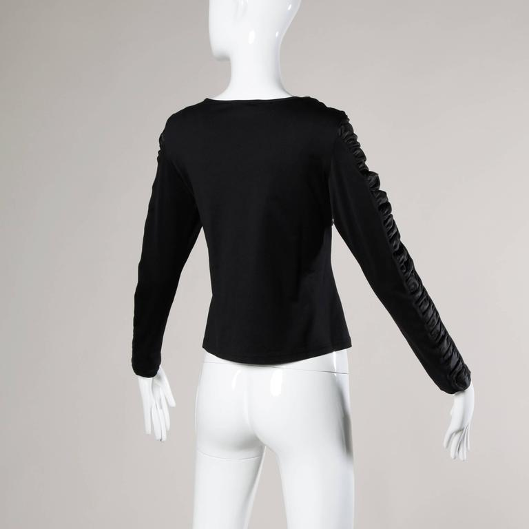 Anne Fontaine French-Made Ruched Long Sleeve Top or Shirt In Excellent Condition For Sale In Sparks, NV