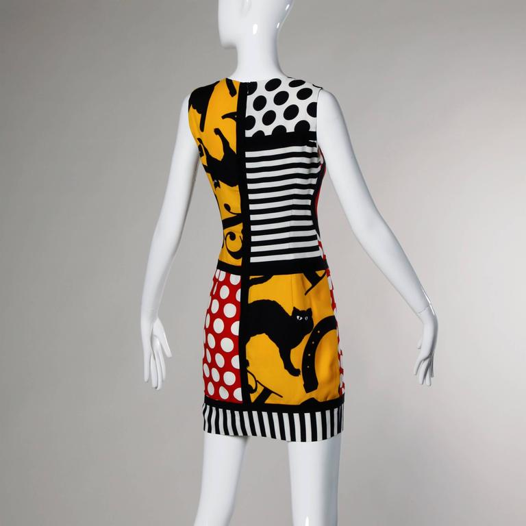 Orange Iconic Moschino Vintage 90s Pop Art Dress with Numbers, Heart + Cat For Sale