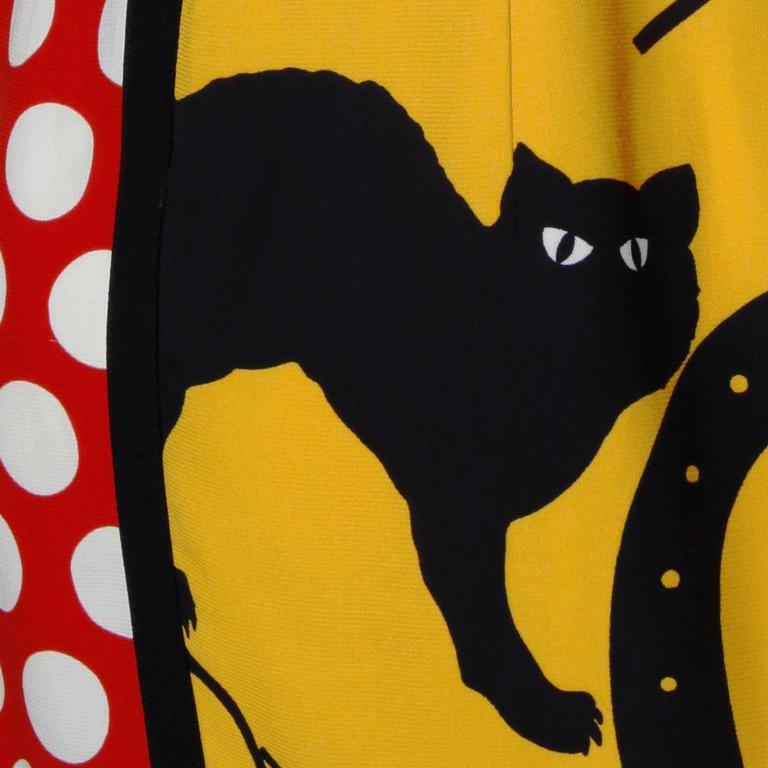 Iconic Moschino Vintage 90s Pop Art Dress with Numbers, Heart + Cat For Sale 1