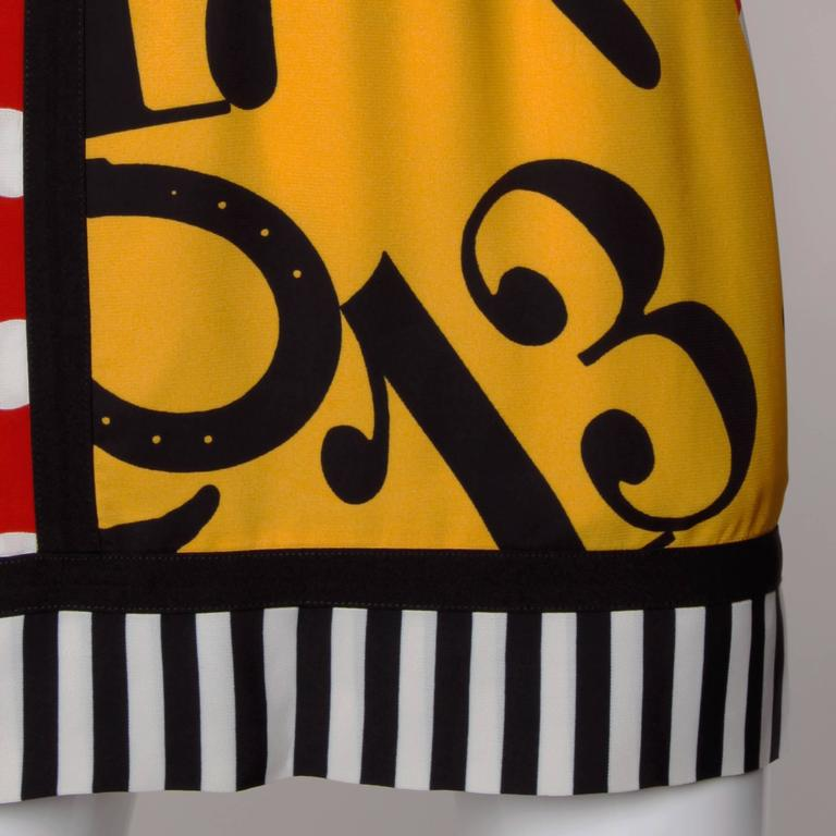 Iconic Moschino Vintage 90s Pop Art Dress with Numbers, Heart + Cat For Sale 2