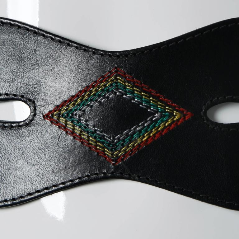 Irene Sargent Vintage Leather Cut Out Belt with Rainbow Embroidery, 1970s  3