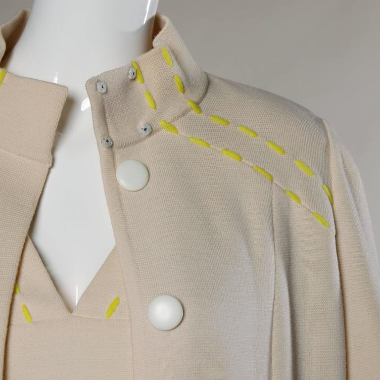 Women's 1960s Vintage Gino Paoli Mod Italian Wool Knit Coat + Dress Ensemble For Sale