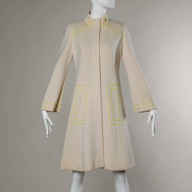 1960s Vintage Gino Paoli Mod Italian Wool Knit Coat + Dress Ensemble In Excellent Condition For Sale In Sparks, NV