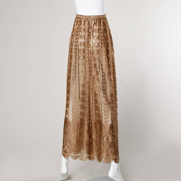 Jill Richards Vintage Scalloped Metallic Copper + Taupe Lace Maxi Skirt 3