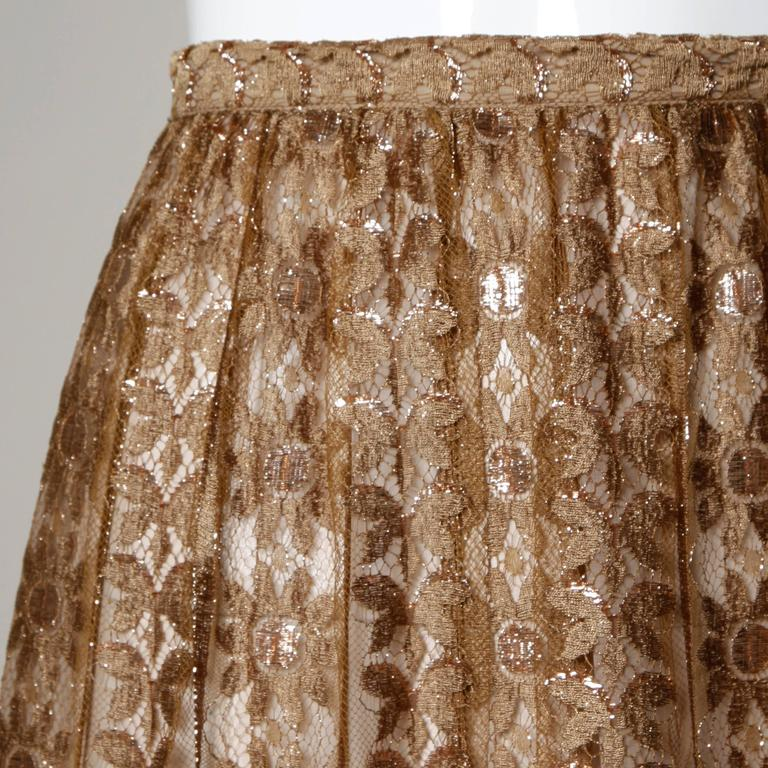 Jill Richards Vintage Scalloped Metallic Copper + Taupe Lace Maxi Skirt For Sale 1