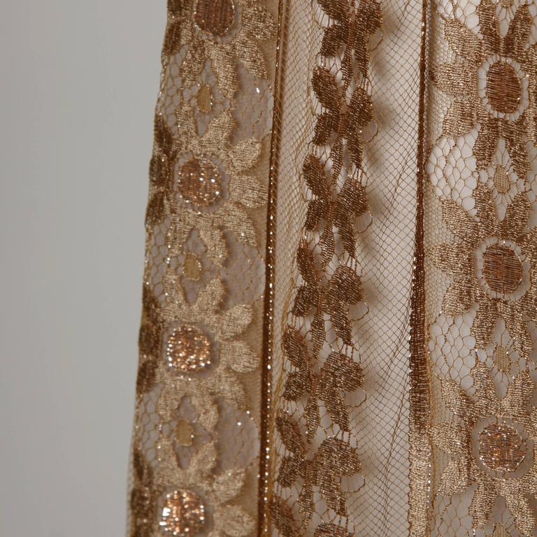 Jill Richards Vintage Scalloped Metallic Copper + Taupe Lace Maxi Skirt 2
