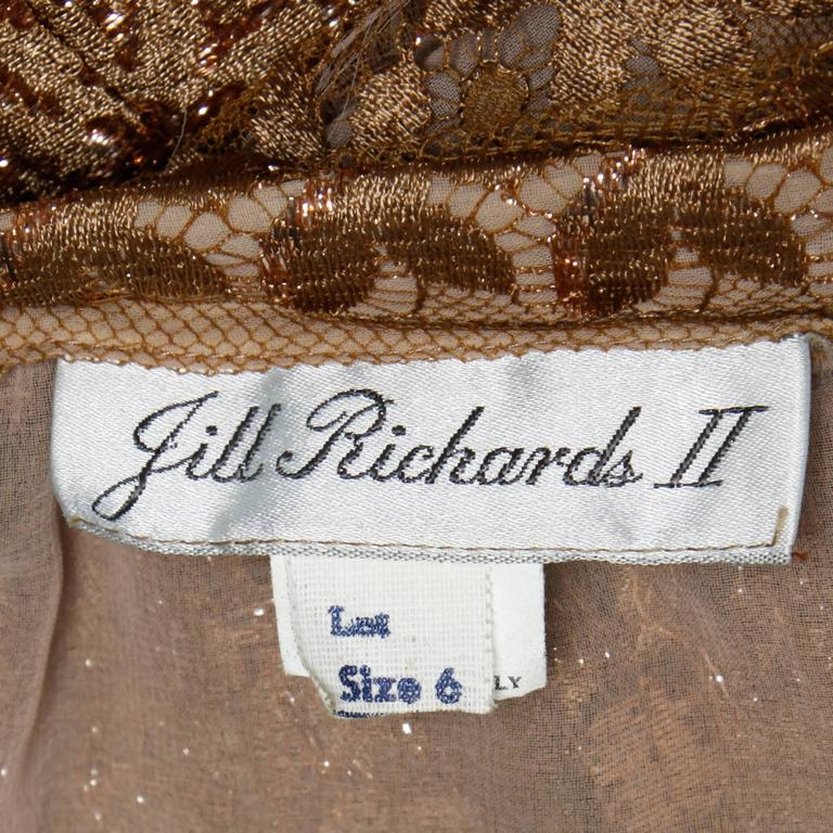 Jill Richards Vintage Scalloped Metallic Copper + Taupe Lace Maxi Skirt In Excellent Condition For Sale In Sparks, NV