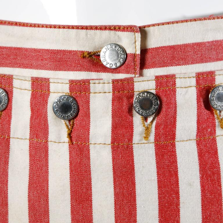 Dolce & Gabbana Red Striped Denim Mini Skirt with Lace Up Detail 2