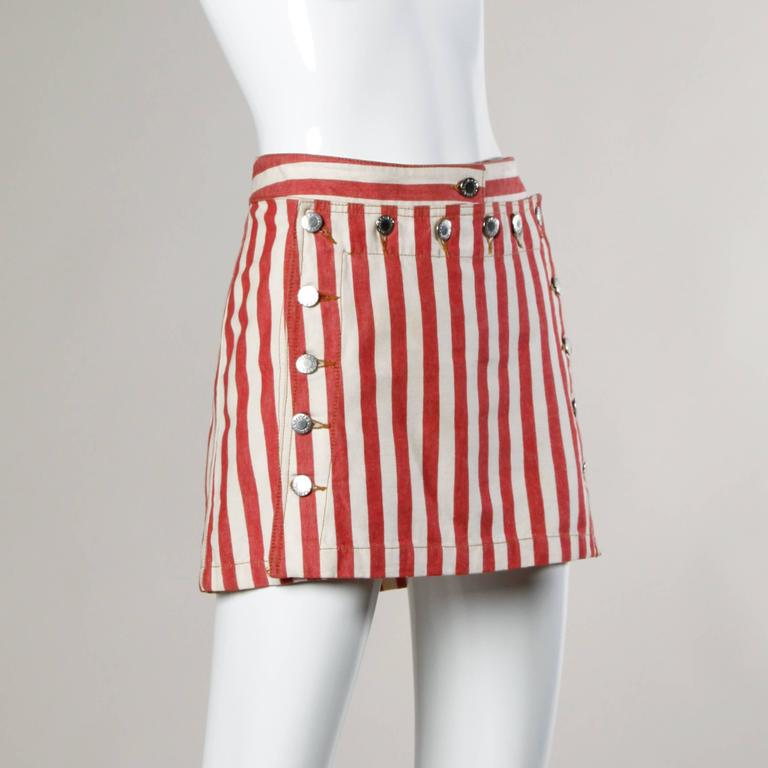 Dolce & Gabbana Red Striped Denim Mini Skirt with Lace Up Detail For Sale 1