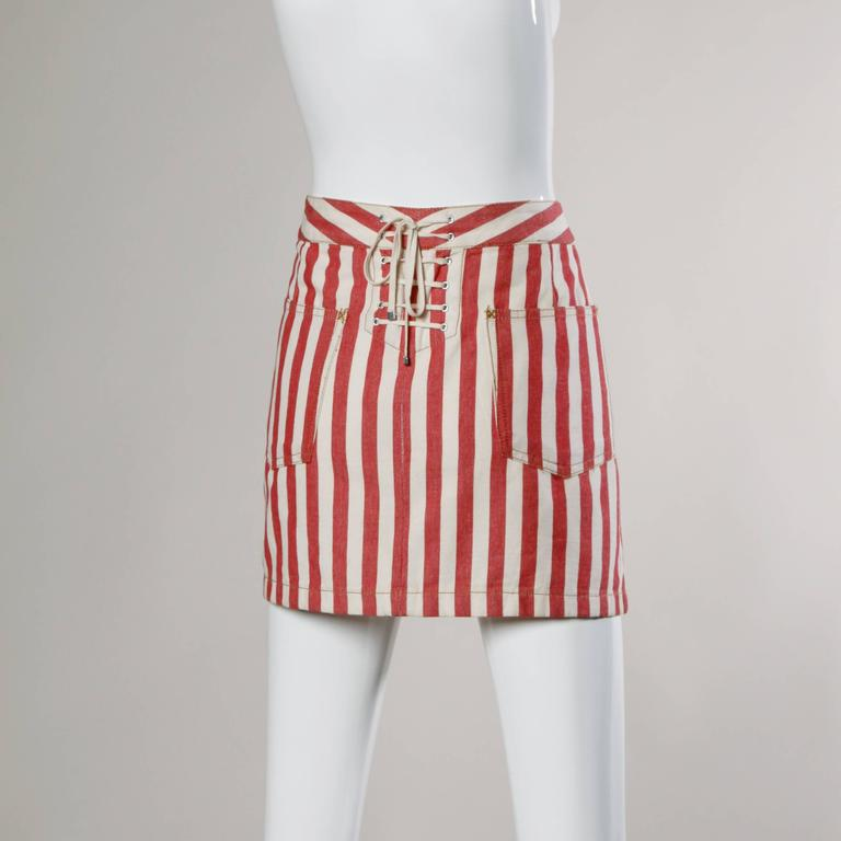 Beige Dolce & Gabbana Red Striped Denim Mini Skirt with Lace Up Detail For Sale
