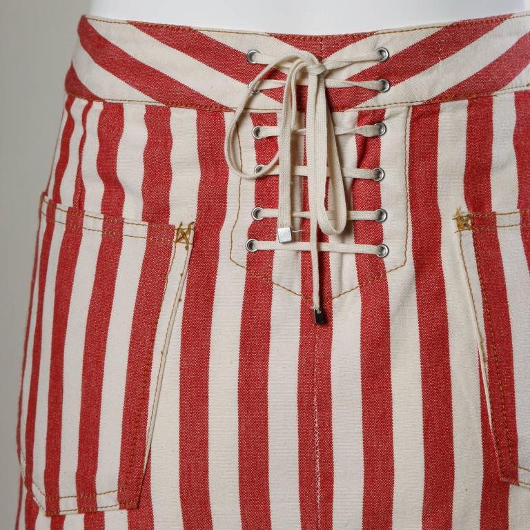 Women's Dolce & Gabbana Red Striped Denim Mini Skirt with Lace Up Detail For Sale