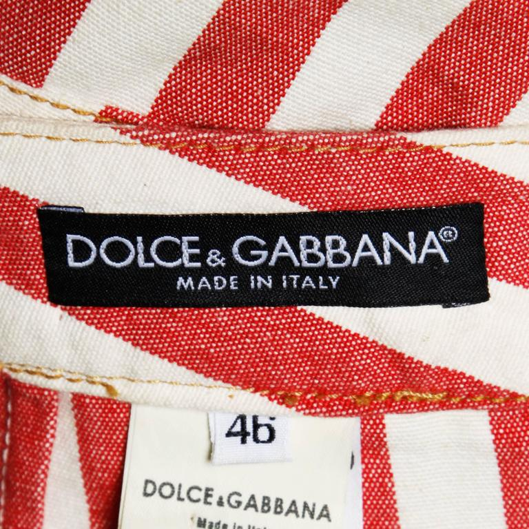 Dolce & Gabbana Red Striped Denim Mini Skirt with Lace Up Detail In Excellent Condition For Sale In Sparks, NV