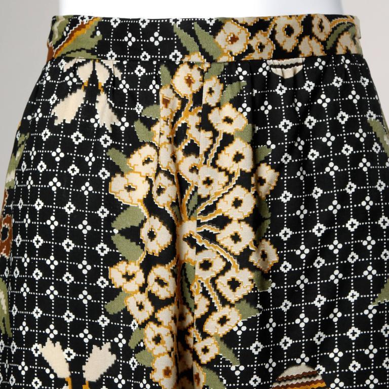 1970s Rizkallah for Don Friese Vintage Boho Print Wide Leg Palazzo Pants 3