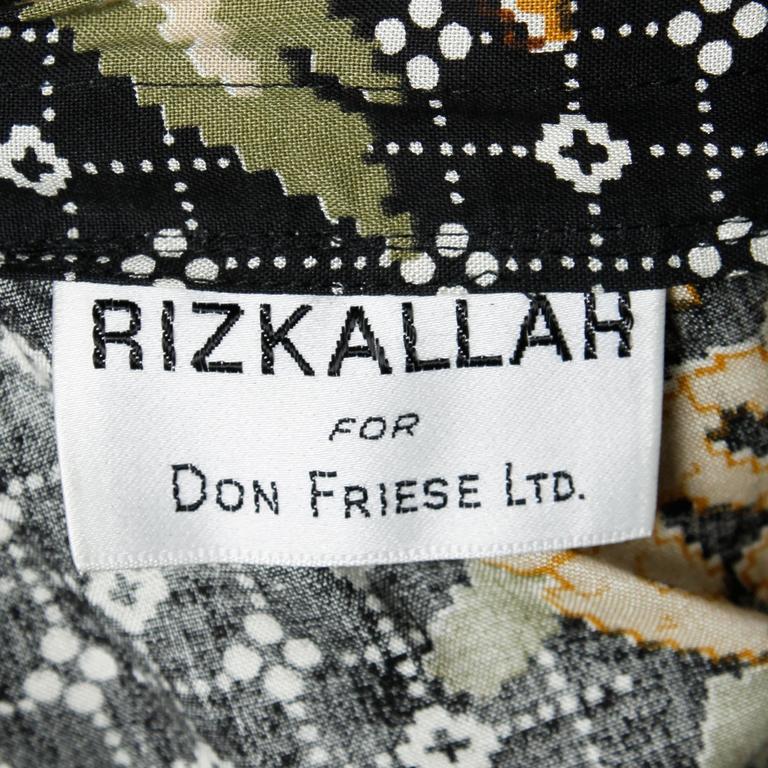 1970s Rizkallah for Don Friese Vintage Boho Print Wide Leg Palazzo Pants 4