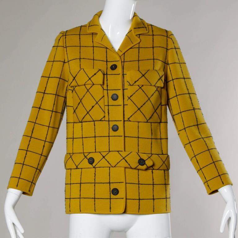 1960s Vintage Gino Paoli Mustard Yellow Italian Wool Knit Sweater Jacket 5