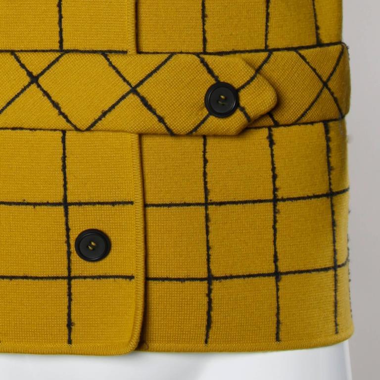 1960s Vintage Gino Paoli Mustard Yellow Italian Wool Knit Sweater Jacket 2