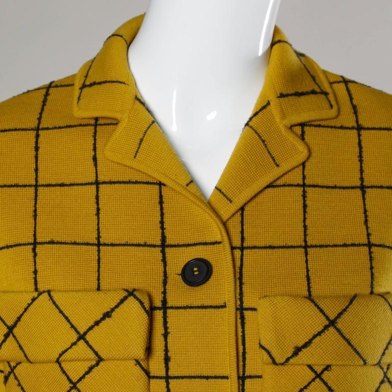1960s Vintage Gino Paoli Mustard Yellow Italian Wool Knit Sweater Jacket 6