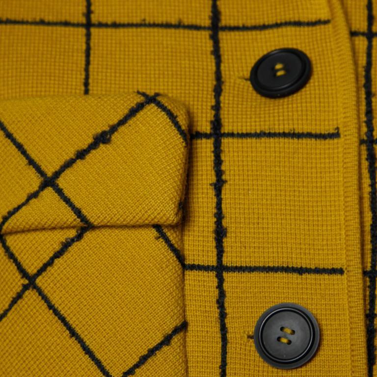 1960s Vintage Gino Paoli Mustard Yellow Italian Wool Knit Sweater Jacket 8