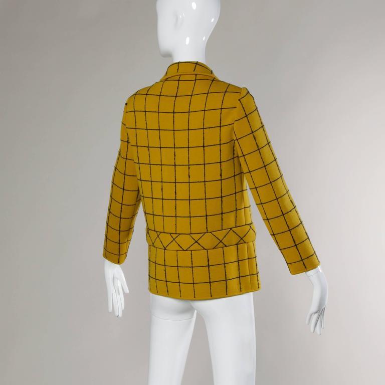1960s Vintage Gino Paoli Mustard Yellow Italian Wool Knit Sweater Jacket 7