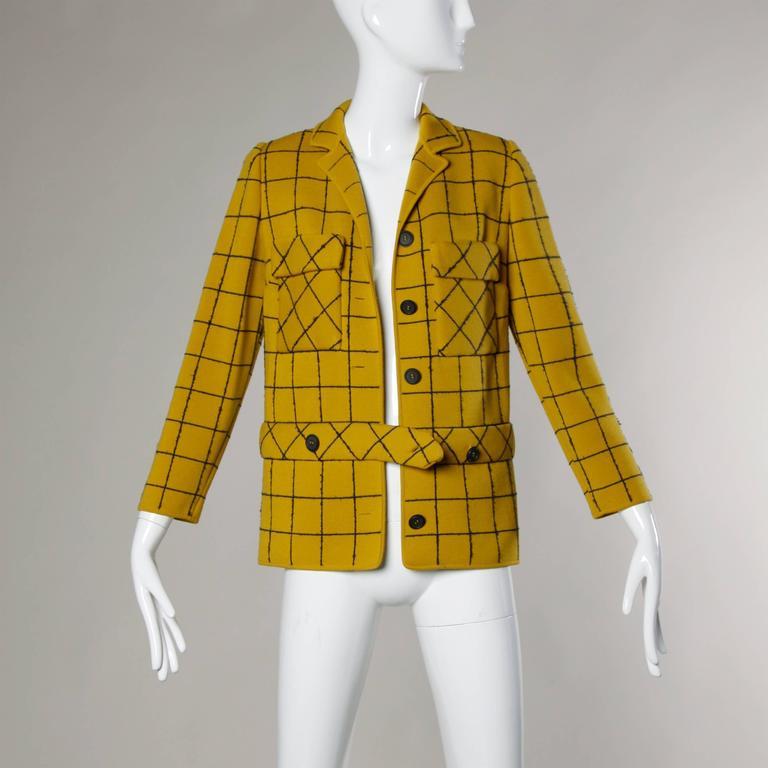 1960s Vintage Gino Paoli Mustard Yellow Italian Wool Knit Sweater Jacket 3