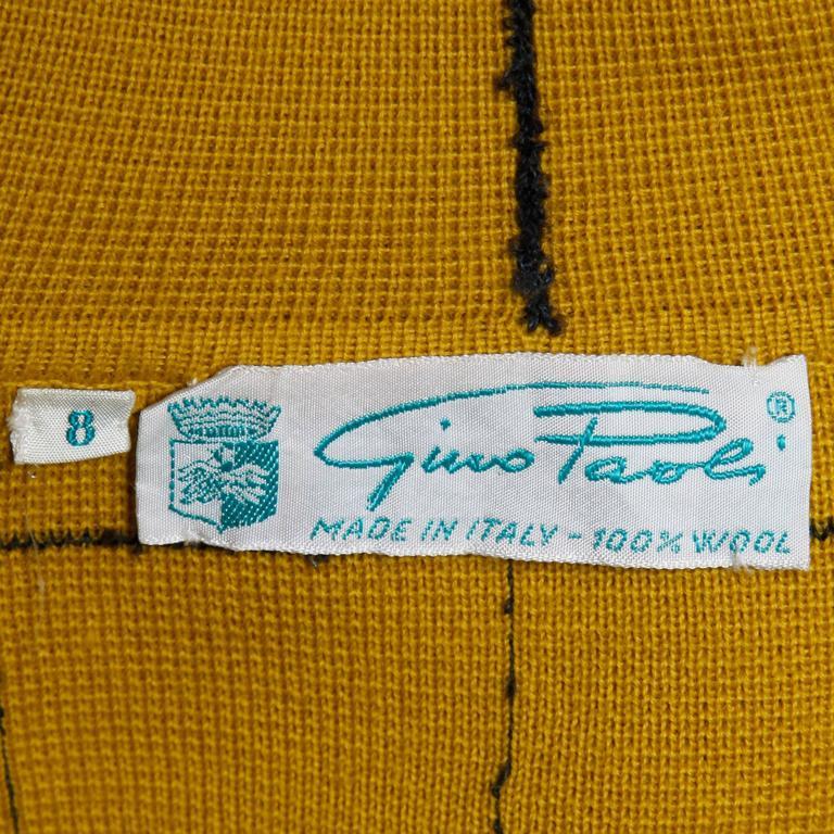 1960s Vintage Gino Paoli Mustard Yellow Italian Wool Knit Sweater Jacket 4