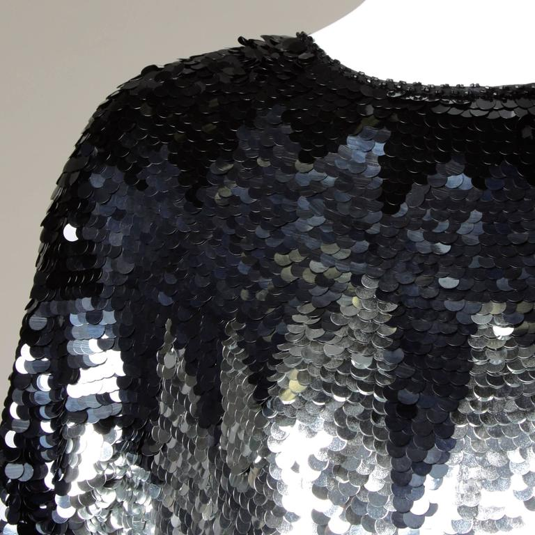 Flapper-Inspired Vintage Metallic Silk Beaded + Sequin Cocktail Dress For Sale 4