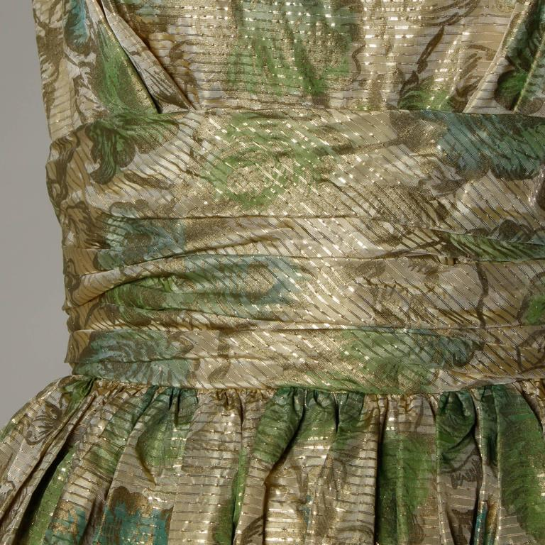 Unworn 1950s Vintage Metallic Floral Print Cocktail Dress with a Bubble Hem For Sale 2