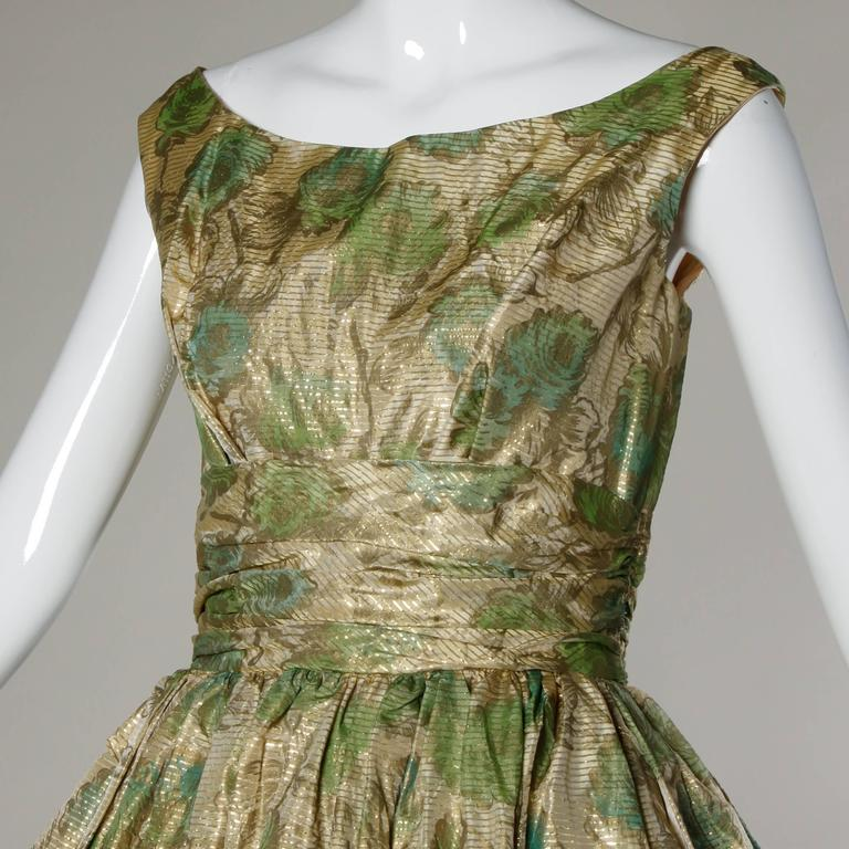 Unworn 1950s Vintage Metallic Floral Print Cocktail Dress with a Bubble Hem 2