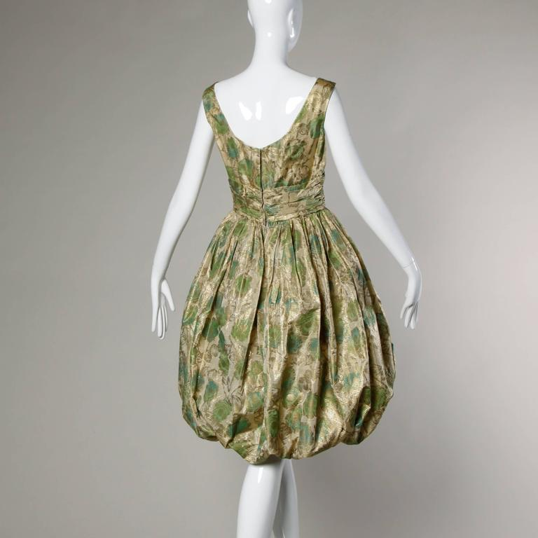Unworn 1950s Vintage Metallic Floral Print Cocktail Dress with a Bubble Hem In Excellent Condition For Sale In Sparks, NV