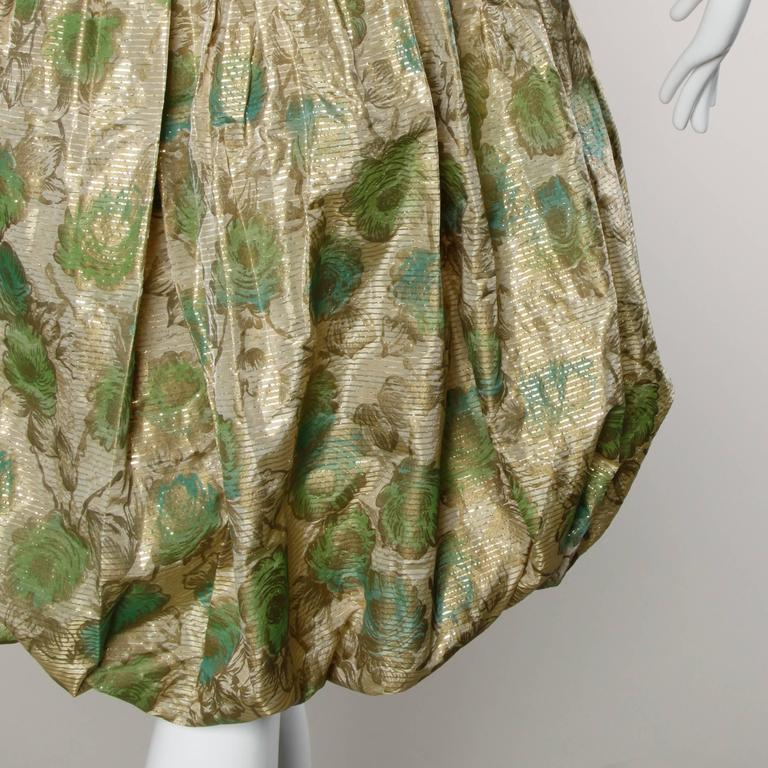 Unworn 1950s Vintage Metallic Floral Print Cocktail Dress with a Bubble Hem For Sale 1