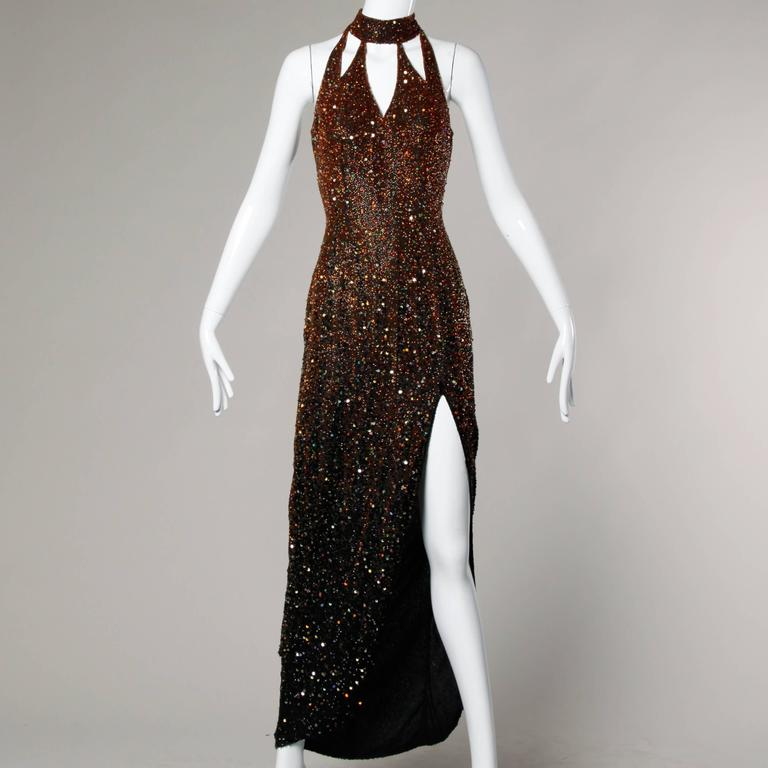 Naeem Khan Riazee Boutique Vintage Sequin + Beaded Ombre Silk Gown In Excellent Condition For Sale In Sparks, NV