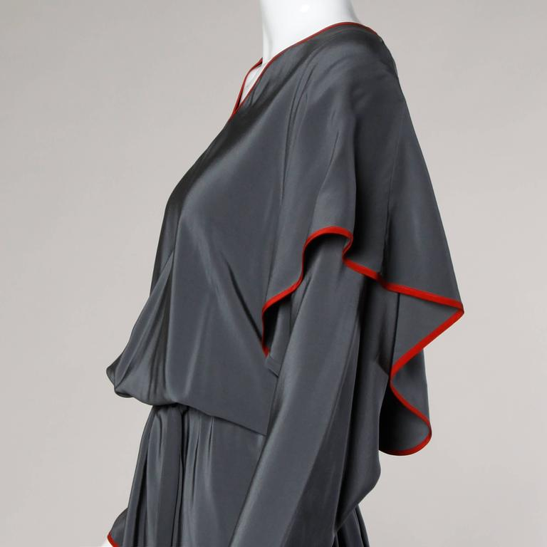 Women's Convertible Guy Laroche Vintage Avant Garde Silk Dress with Detachable Sleeves For Sale