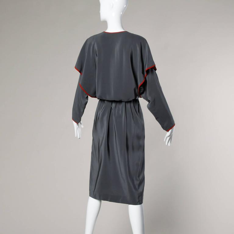 Convertible Guy Laroche Vintage Avant Garde Silk Dress with Detachable Sleeves For Sale 1