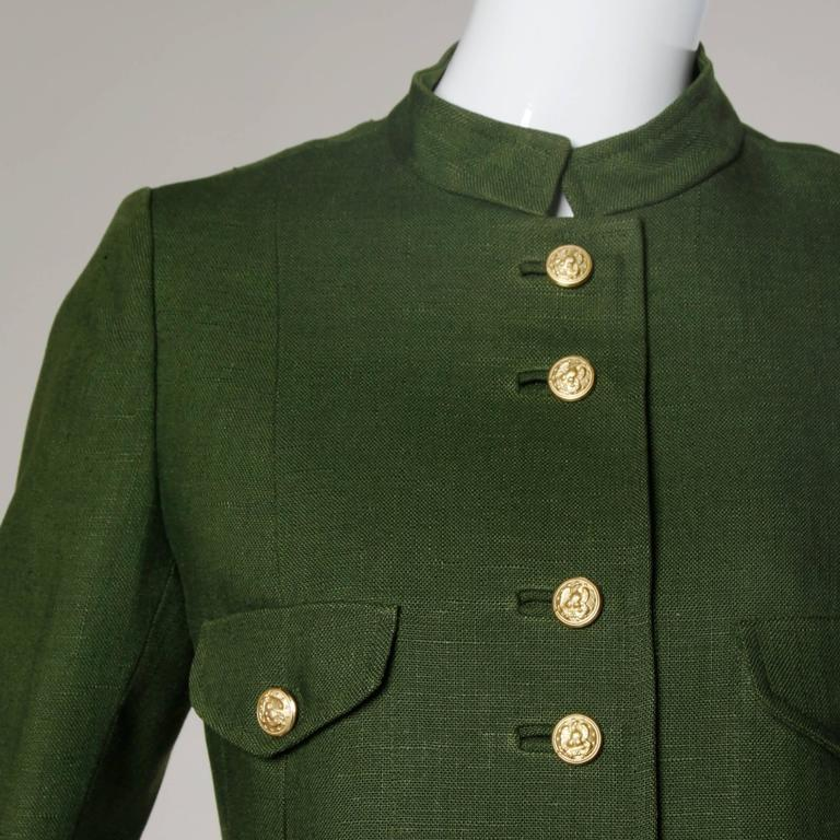 Bergdorf Goodman Vintage Olive Green Military Jacket 2