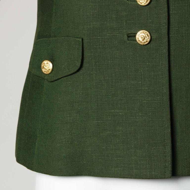 Bergdorf Goodman Vintage Olive Green Military Jacket 6