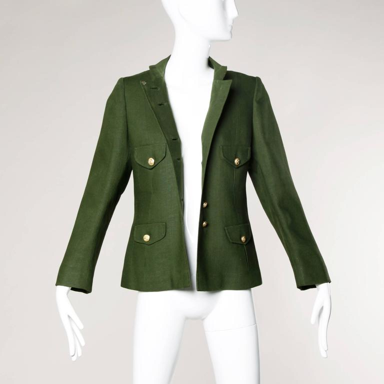 Bergdorf Goodman Vintage Olive Green Military Jacket 8