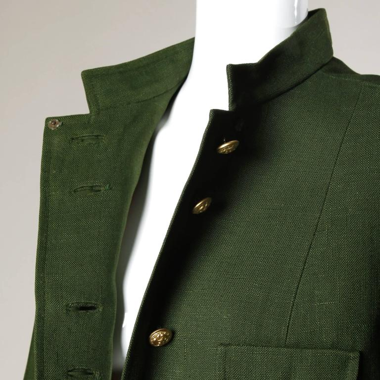 Bergdorf Goodman Vintage Olive Green Military Jacket 5