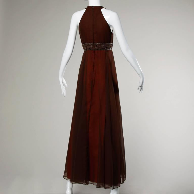 1970s Jack Bryan Vintage Brown Beaded Chiffon Gown with Plunging Neckline 3