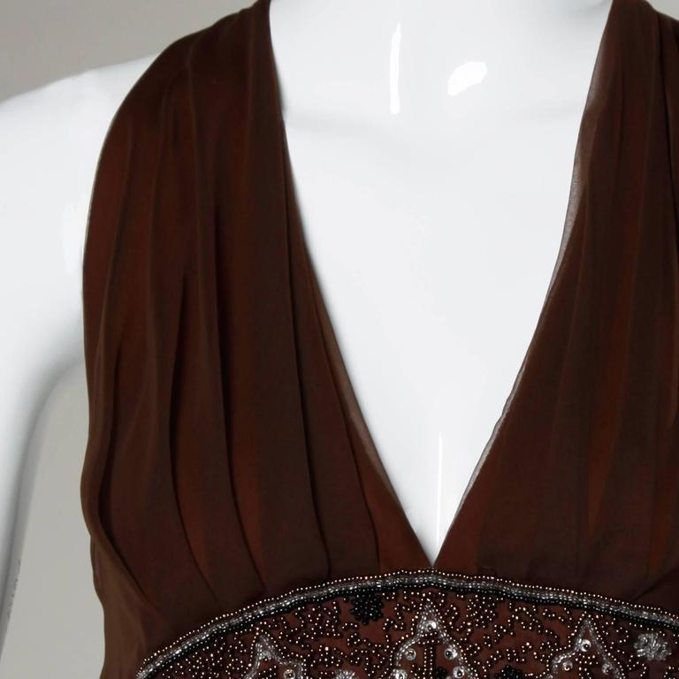1970s Jack Bryan Vintage Brown Beaded Chiffon Gown with Plunging Neckline 2