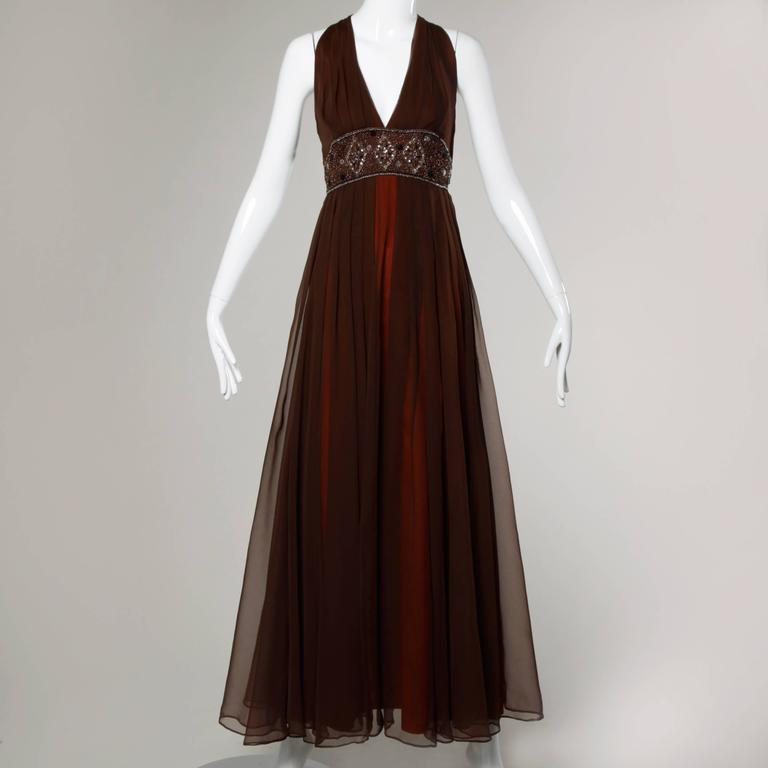 1970s Jack Bryan Vintage Brown Beaded Chiffon Gown with Plunging Neckline 6