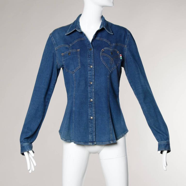 Moschino Jeans Vintage Denim Top or Jacket with Heart Pocket 8