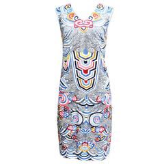 Naeem Khan Multicolored Embroidered Ivory Silk Pique Sheath Dress